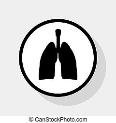 Human anatomy. Lungs sign. Vector. Flat black icon in white circle with shadow at gray background.