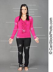 Human anatomy model - Human anatomy or body: woman posing on...
