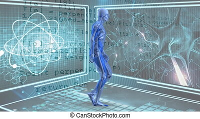 Digital composite of human anatomy walking while background shows atoms and microscopic view