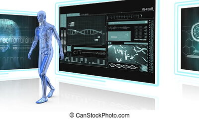 Digitally generated animation of human anatomy walking around and background shows screen with medical display
