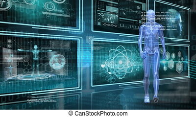 Digitally generated animation of human anatomy walking with binary codes and screens with medical images