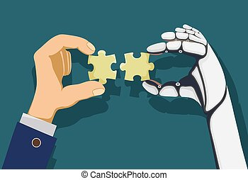 Human and a robot hands holding puzzle pieces.