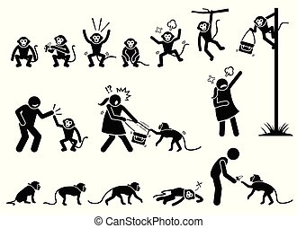 Human and monkey stick figure pictogram cliparts.