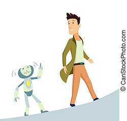 Human and robot. Concept of interaction with artificial intelligence. Vector illustration.