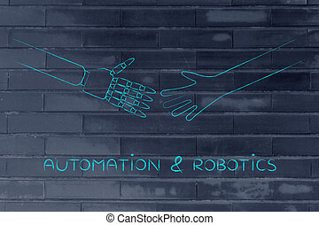 human and robot hands about to touch, automation & robotics