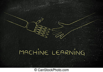 human and robot hands about to touch, machine learning