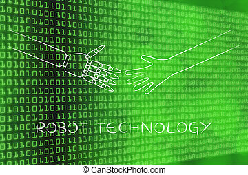 human and robot hands about to touch, robot technology