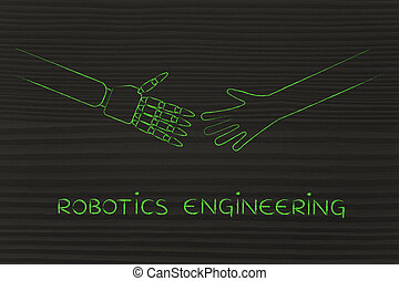 human and robot hands about to touch, robotics engineering