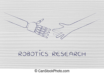 human and robot hands about to touch, robotics research
