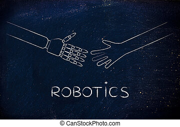 human and robot hands about to touch, robotics