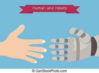 Human and robot hands flat design.