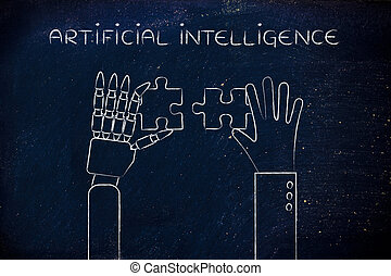 human and robot hands solving a puzzle, artificial intelligence