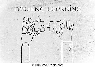human and robot hands solving a puzzle, machine learning