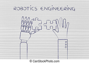 human and robot hands solving a puzzle, robotics engineering