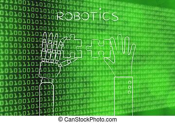 human and robot hands solving a puzzle, robotics