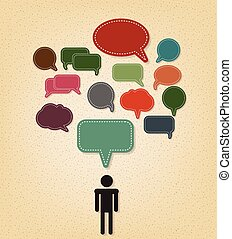 human and text balloon Vector speech bubble icons on vintage style