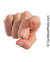 human, apontar, mão