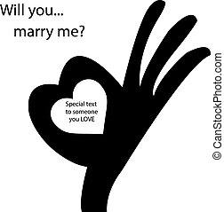 human, aprovação, sinal mão, com, forma coração