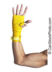 human arm with wrist wrapped