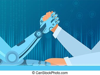 Human arm wrestling with robot. The struggle of man vs robot. Artificial Intelligence vector illustration concept