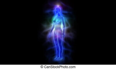 Human aura and chakras - silhouette of woman - Animation...