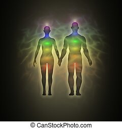 Human aura - couple - Illustration of human energy body...