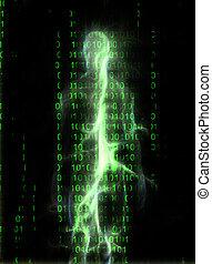 Human Aura - Human figure on binary code background