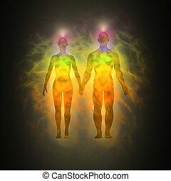 Human aura - woman and man - Illustration of human energy...
