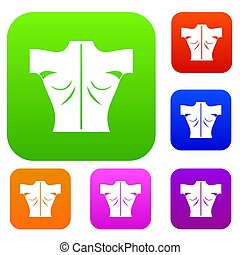 Human back set collection - Human back set icon in different...