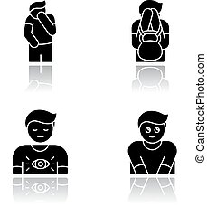 Human behaviour drop shadow black glyph icons set