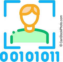 Human Binary Code Icon Vector Outline Illustration