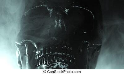 Human black skull on dark smoke background. Concept of fear...