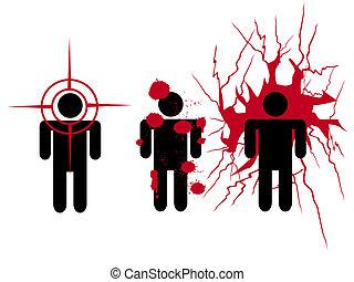 human blooding  - three symbol people been shot