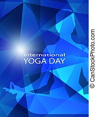 Human body in yoga lotus pose on trendy neon bright blue modern geometric abstract background. Flyer or card in low poly style for international yoga day. Meditation. Harmony. Double exposure