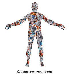 Human body silhouette made from bacteria