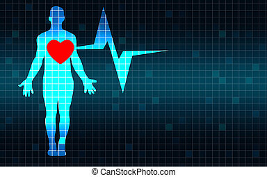 Human body with heart beat