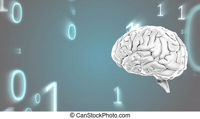Human brain and binary codes - Digitally generated animation...