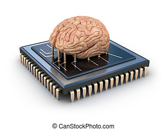 Human brain and computer chip, 3D concept