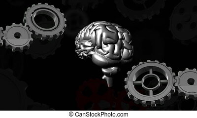 Human brain and gears - Digitally generated animation of ...