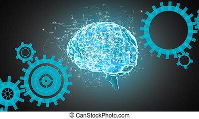 Human brain and gears