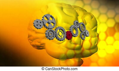Human brain and gears