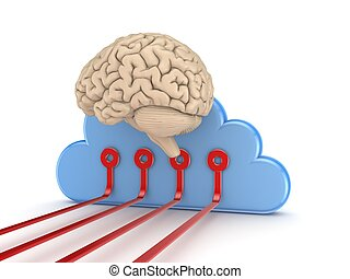 Human brain and symbol of cloud computing. - Human brain and...