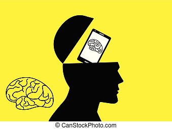 Human brain being replaced by a smart phone