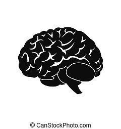 Human brain black icon - Human brain black simple icon...