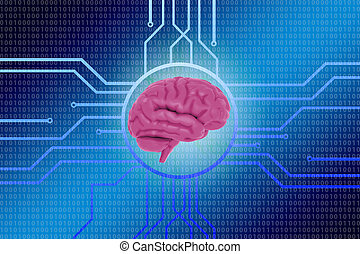 Human brain computer electronic circuit digital binary information background