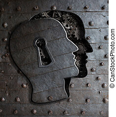Human brain door with keyhole concept made from metal gears...