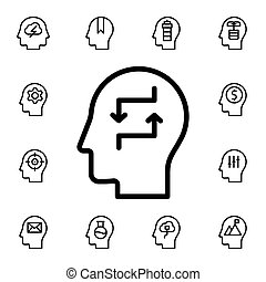Human, brain, exchange flat vector icon in mind process pack