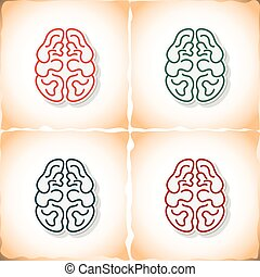 Human brain. Flat sticker with shadow on old paper
