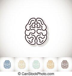 Human brain. Flat sticker with shadow on white background