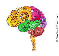 Human brain function - Brain lobe sections in multi color...